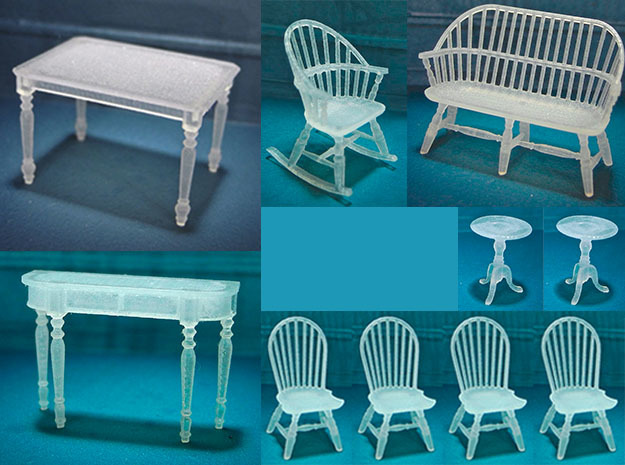 1:48 Windsor Furniture Set in Smooth Fine Detail Plastic