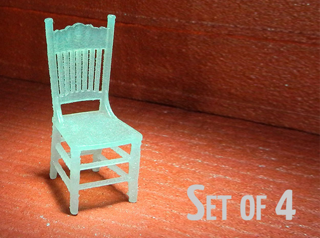 1:48 Kitchen Chair, Set of 4 in Frosted Ultra Detail