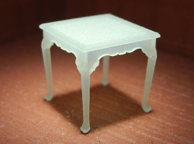 1:48 Queen Anne Table, Square in Smooth Fine Detail Plastic