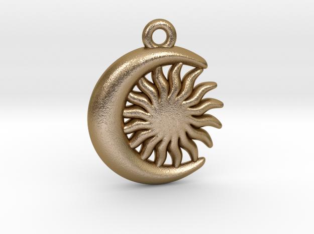 Sun&Moon Pendant in Polished Gold Steel