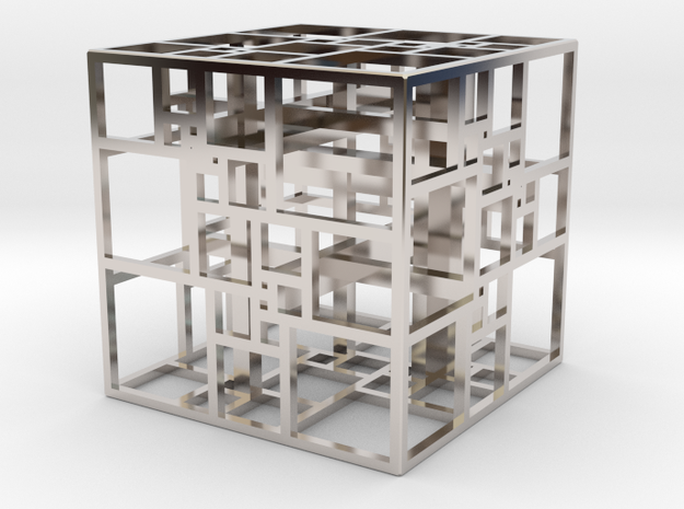 Triple SPSS Cube 28-408 (small) in Rhodium Plated Brass