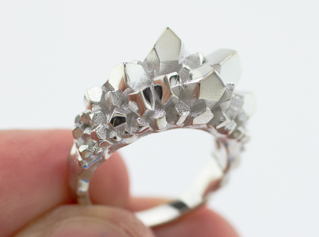 Crystal Ring Size 10 in Rhodium Plated Brass
