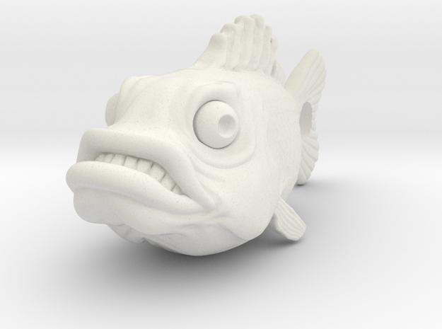 Fish Keychain in White Natural Versatile Plastic