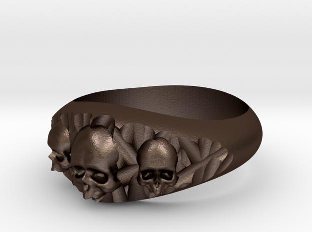 Cutaway Ring With Skulls Sz 7 in Matte Bronze Steel