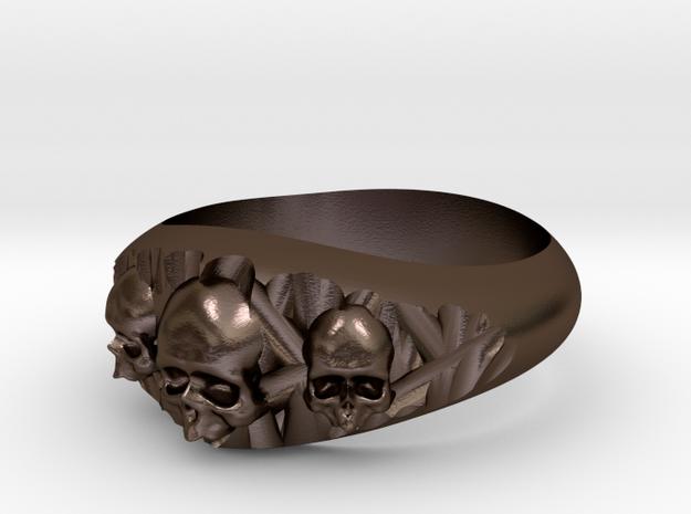 Cutaway Ring With Skulls Sz 10 in Polished Bronze Steel