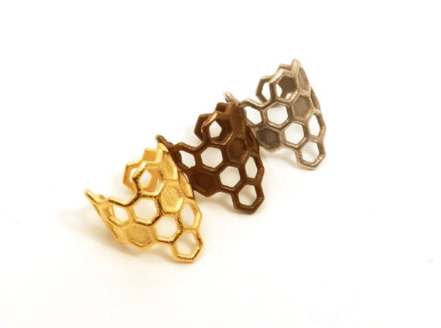 Honeycomb Ring 3d printed Gold plated steel, polished antique bronze plated steel and steel