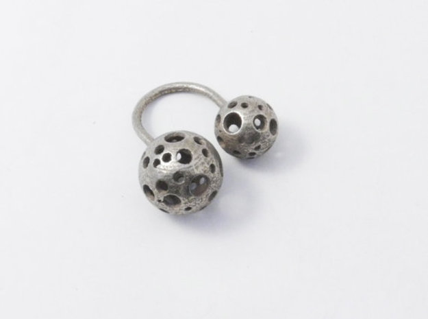 Double Moonball Ring M/L in Stainless Steel