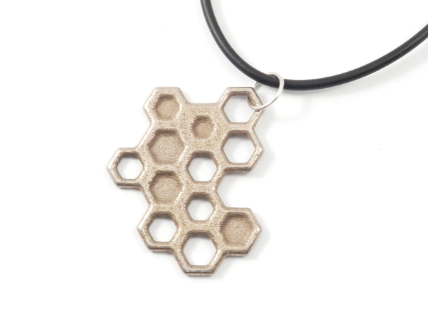 Honeycomb Necklace in Polished Bronzed Silver Steel