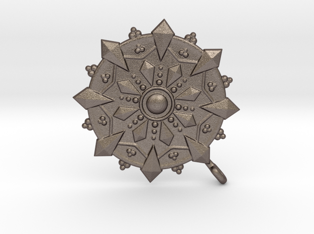 Dharmawheel in Polished Bronzed Silver Steel