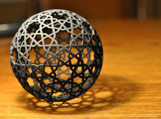 Islamic star ball with 9- and 10-pointed stars in Black Natural Versatile Plastic