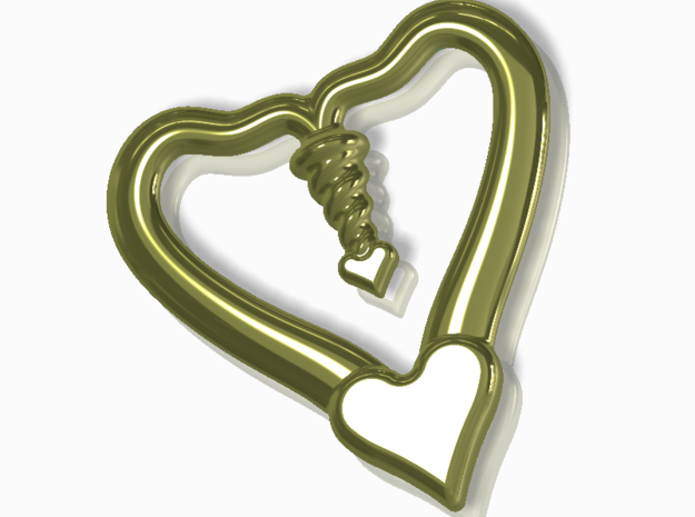 Valentine, 1.5 SCALE 2 Hearts, One Love in 14k Gold Plated