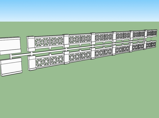 Small-star railing HO 3d printed Two railings plus two pedestals on a one sprue.  The railings can be combined to make long continuous runs.