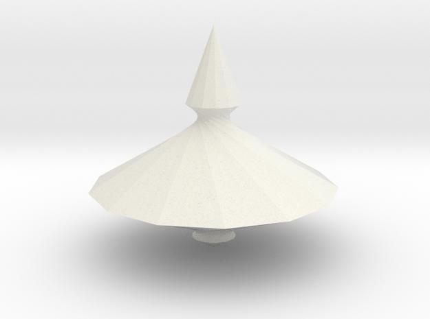 Spinning top PT v10 in White Natural Versatile Plastic