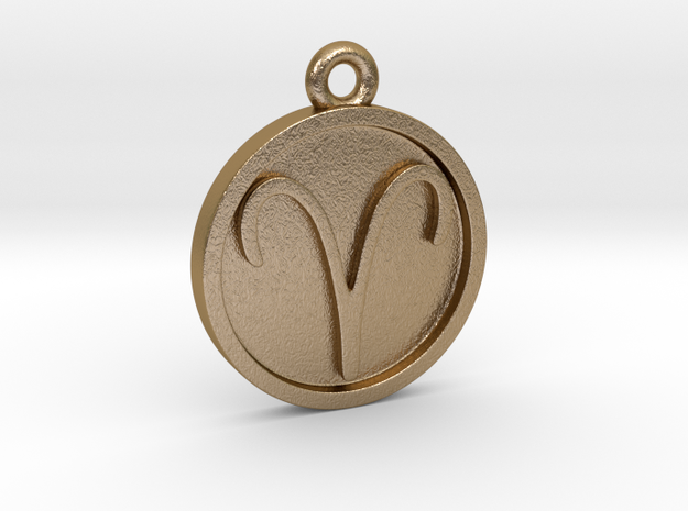 Aries/Widder Pendant in Polished Gold Steel