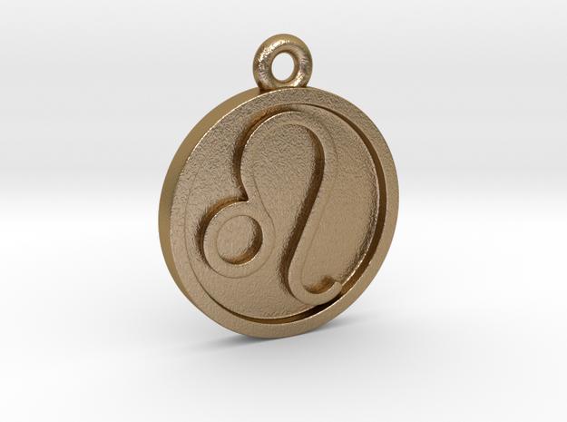 Leo/Löwe Pendant in Polished Gold Steel