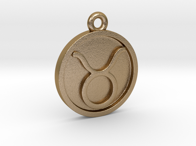 Taurus/Stier Pendant in Polished Gold Steel