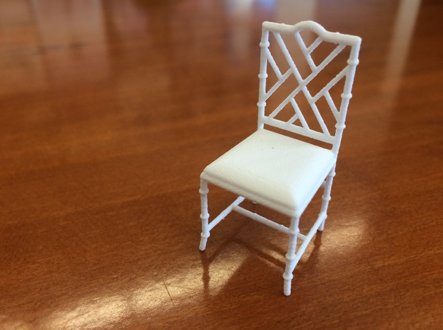 1:24 Chinese Chippendale Chair in White Natural Versatile Plastic