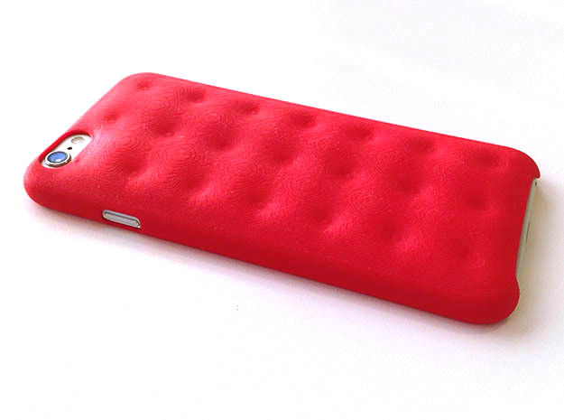iPhone 6 Tufting cover in Red Strong & Flexible Polished