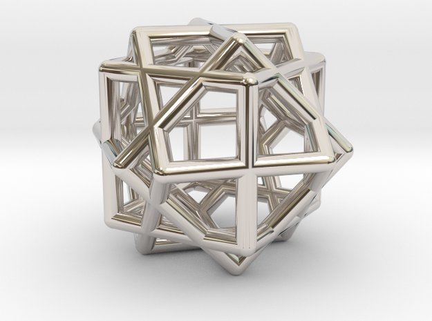 Compound of Three Cubes in Rhodium Plated Brass
