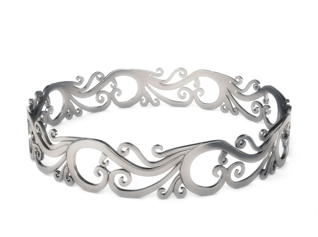 Silver Filigree Bracelet - Medium in Fine Detail Polished Silver