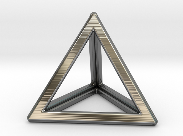 TETRAHEDRON (Platonic) in Fine Detail Polished Silver