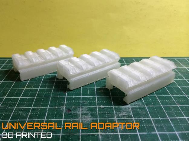 Nerf to Picatinny 20mm Rail Adapter  in White Natural Versatile Plastic