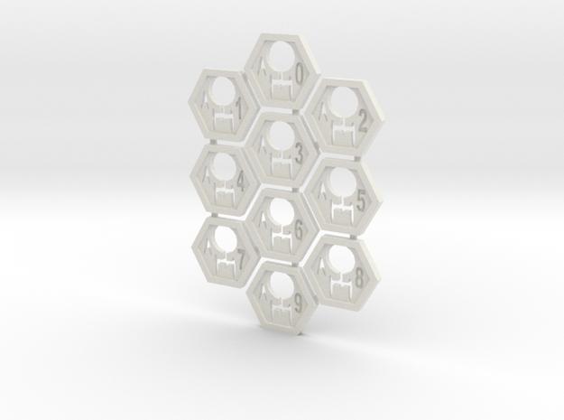 Feddy Hex Tiles in White Natural Versatile Plastic