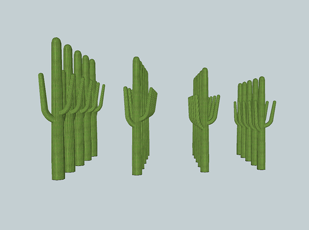 20 N-scale Saguaro Cactus Set in Smooth Fine Detail Plastic