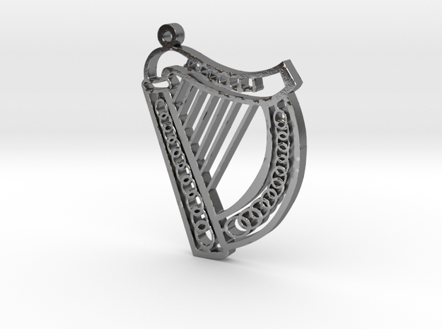 McGurran Irish Harp Pendant in Polished Silver