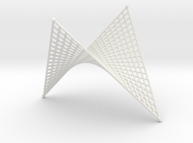 Hyperbolic-Paraboloid Doubly-Ruled Surface Structu in White Natural Versatile Plastic