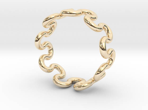 Wave Ring (21mm / 0.82inch inner diameter) in 14K Yellow Gold