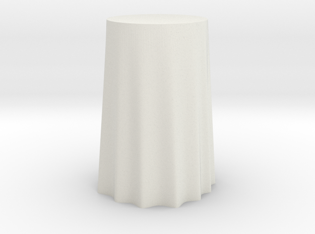 "1:24 Draped Bar Table - 30"" diameter in White Natural Versatile Plastic"