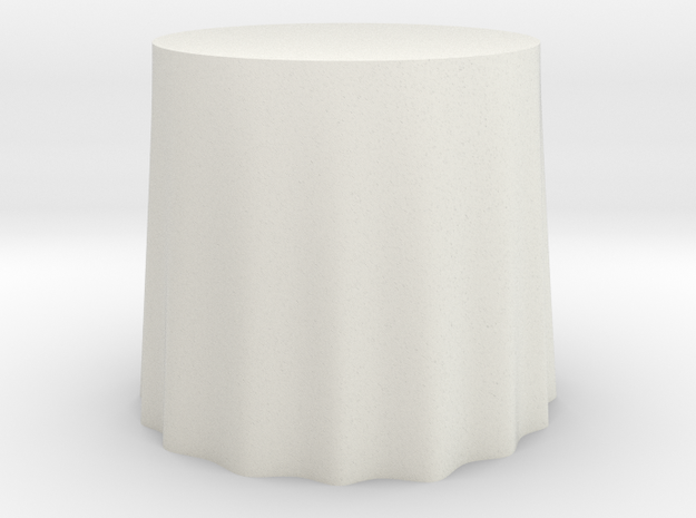 "1:24 Draped Table - 30"" diameter in White Natural Versatile Plastic"