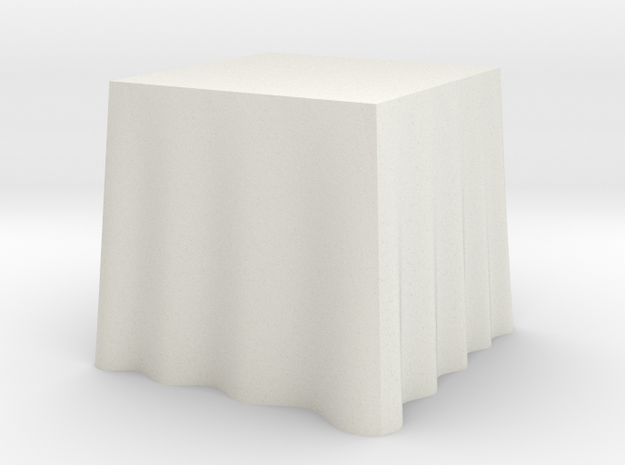 "1:24 Draped Table - 30"" square in White Strong & Flexible"