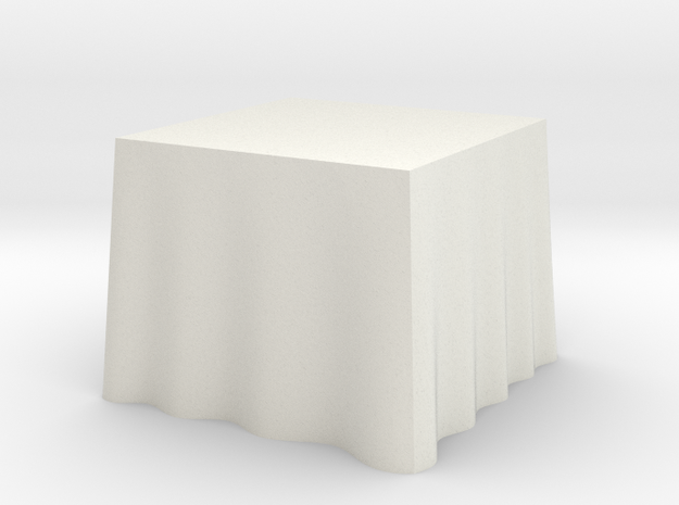 "1:24 Draped Table - 36"" square in White Natural Versatile Plastic"