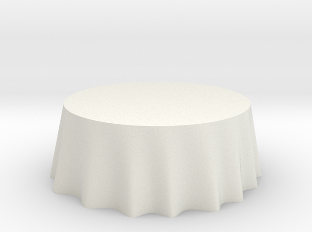 "1:24 Draped Table - 72"" diameter in White Natural Versatile Plastic"