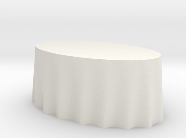 1:48 Draped Table - Large Oval in White Strong & Flexible