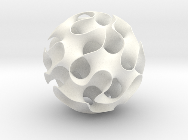 Gyroid, sphere cut in White Processed Versatile Plastic