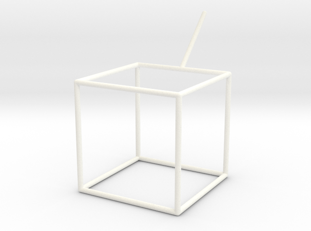 Wire Model for Soap: Cube in White Processed Versatile Plastic