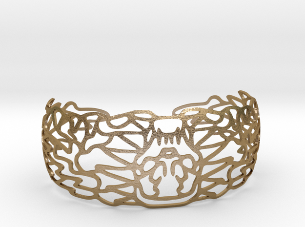 Skullbracelet in Polished Gold Steel