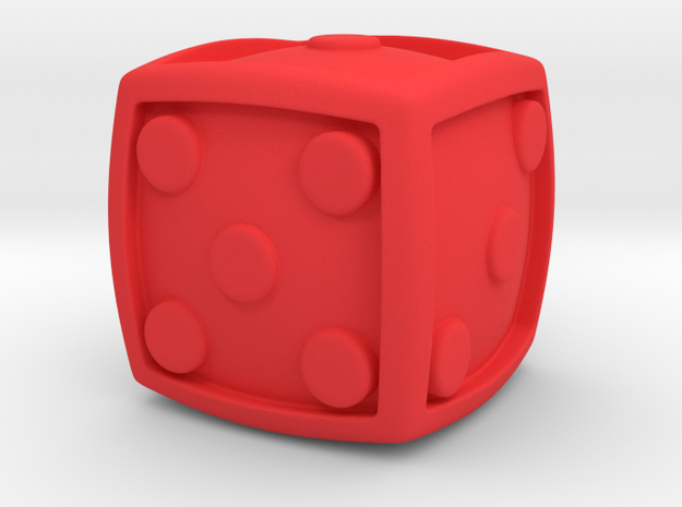 Num Dice  in Red Strong & Flexible Polished