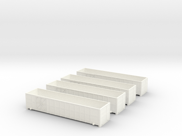 Set offener, SBB 4 achs Güterwagen Faas Spur TT in White Processed Versatile Plastic