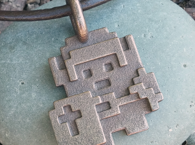 8-Bit Zelda Pendant in Polished Bronze Steel