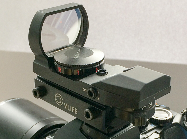 Red dot to hot shoe adapter 3d printed Reflector sight mounted on adapter
