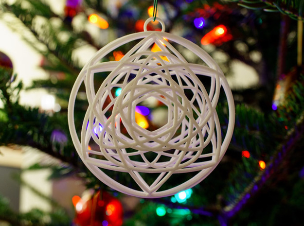 Stained Glass Ornament 3d printed Printed in White, on tree