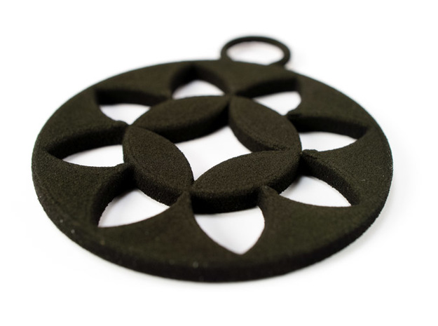 """Okashippo"" Japanese single ornament 3d printed Printed in Black strong and flexible"