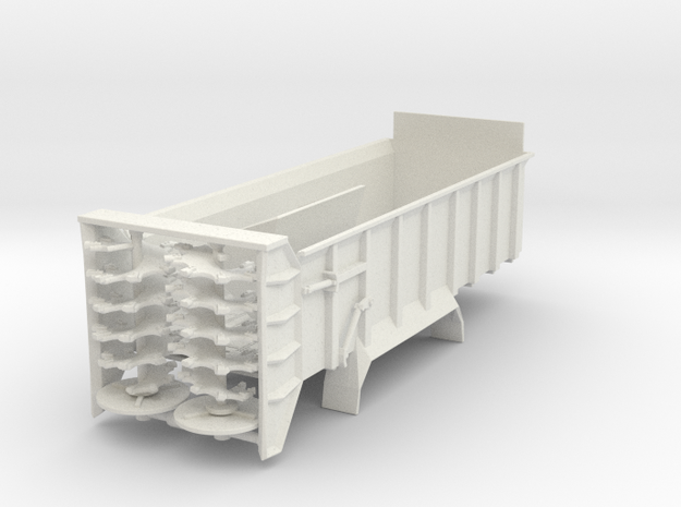 1/64th Manure spreader short frame- Vertical beate in White Natural Versatile Plastic