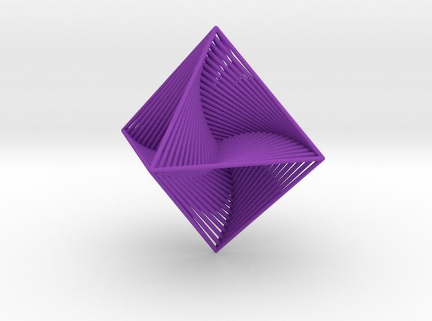 0048 Octahedron Line Design (10 cm) #002 in Purple Processed Versatile Plastic