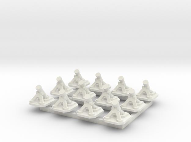 6mm Mortars (x12) in White Natural Versatile Plastic