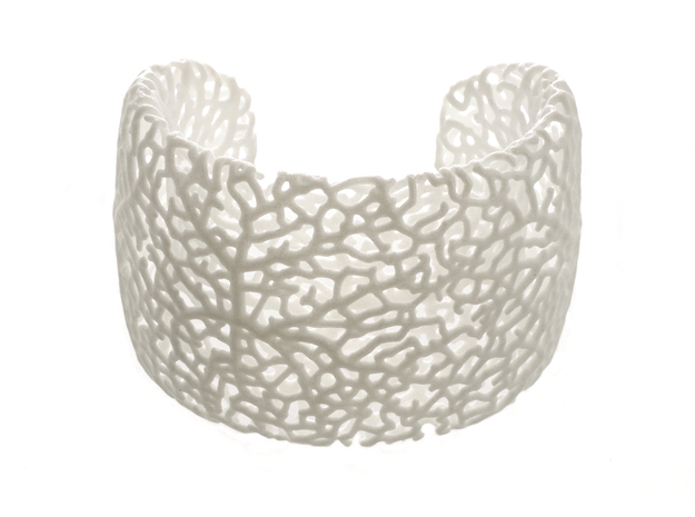 Rhizome Cuff in White Processed Versatile Plastic: Medium
